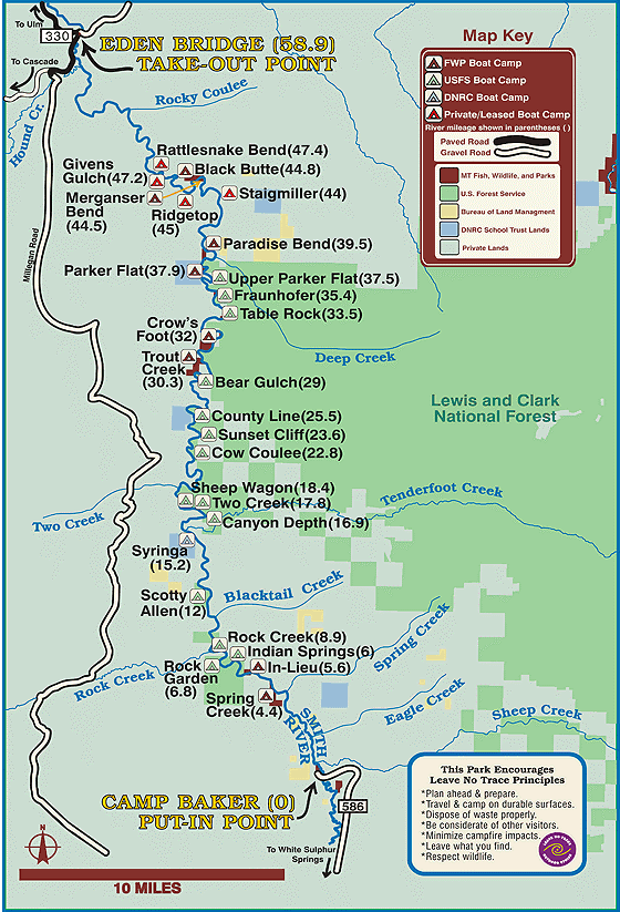 Smith River Fly Fishing Trip Map