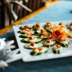 Smoked Salmon Cucumber Rounds served as appetizers at Healing Waters Lodge