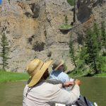 Fly fishing from a boat on the Smith River