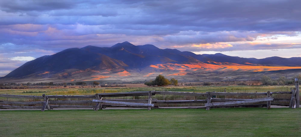 Sunset at Healing Waters Lodge in Montana
