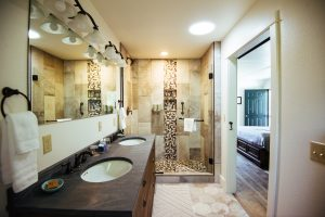 Bathroom in the Franz Pott Guest Room at Healing Waters Lodge