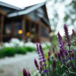 Flowers outside the Dining Hall at Healing Waters Lodge