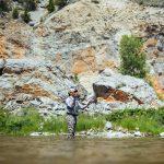 Fly fishing angler on the Smith River - Montana